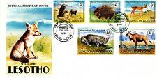 WWF MONKEYS PORCUPINE WILDCAT ORIBI 1982 LESOTHO LOCAL FDC