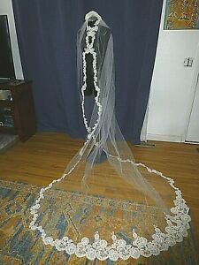 Vtg 60s Priscilla of Boston Wedding Cathedral Alencon lace Beaded Bridal VEIL