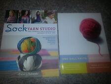 Sock Yarn Studio/One Ball Knits-Two Knitting Book Lot-Paperbacks-Free Shipping