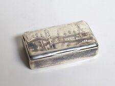 1830 Antique Russian Moscow Souvenir Niello Silver Tabatiere Tobacco Snuff Box