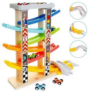 Milly & Ted Wooden Mega Race Track Car Ramp Racer Click Clack Slider Toy Garage