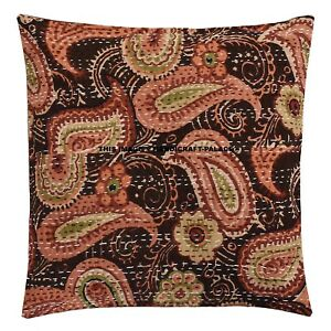 "Indian Kantha Cushion Cover 16"" Boho Cotton Decorative Throw Pillow Case Decor"