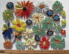 26 Daisy Mosaic Tile Set Mixed Size & Color Broken Cut China Plate Tiles
