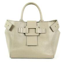 ROGER VIVIER $2,395 Light Gray Leather Small PILGRIM DE JOUR Tote Bag