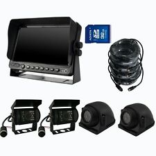 "A66 9"" QUAD MONITOR BUILT-IN DVR REAR VIEW REVERSE BACKUP CAMERA SYSTEM"