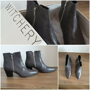 NEW WITCHERY Boots Size 41 EU 10.5 AU Womens Leather Ankle Boots Charcoal RP$229