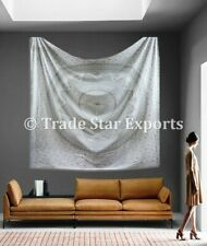 """King Mandala Wall Hanging 108"""" Silver Ombre Tapestry Cotton Bohemian Bed Cover"""
