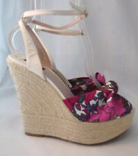 JOAN & DAVID Scarf Print Ankle Espadrille Wedge Sandals 8.5 M