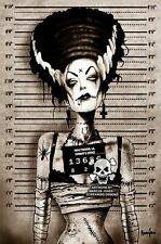 Bride of Frankenstein Mugshot Marcus Jones Screaming Demons Canvas Giclee Art