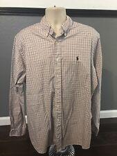 Ralph Lauren Shirt Long Sleeve Classic Fit XL Red Blue Striped