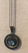 Macys Marcasite Pendant Necklace Blue Gem Stone w/ Sterling Silver Chain Box New