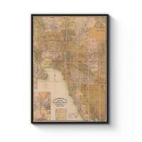 1900-1919 Map of Melbourne Old Vintage Map Art Poster Print - A4 A3 Framed