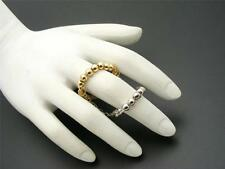 $10 Carole 2-Tone Double Knuckle Ring Stretch Band Beaded Silvertone/Goldtone