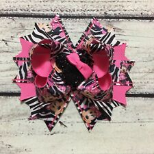 "5"" Handmade Pink And Zebra Print  Minnie Mouse Boutique Hair Bow"