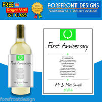 Personalised First Anniversary poem wine bottle label, Perfect Anniversary gift