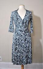 DVF Diane Von Furstenberg Blue Knit 3/4 Short Sleeve Wrap Dress Sz 8 EUC Small