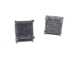 Mens 10k Gold Black Rhodium 1.50ct Black Diamond Square Head Earring