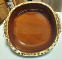 Vintage Brown Drip Pottery Square Bake/Serve Dish 9.5 L with Handles