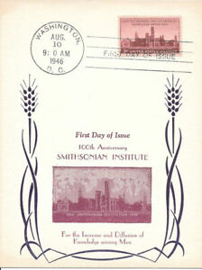 #943 First Day Souvenir Card 3c 100th Anniv. of Smithsonian Institute w/FDC