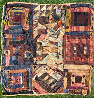 Vintage Handmade Tattered Patchwork Quilt Blanket Throw Wall Hanging 52 X 52
