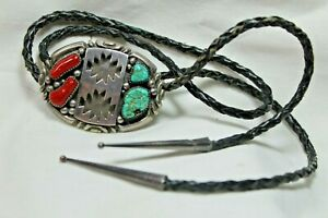 VINTAGE SOUTHWESTERN STERLING SILVER TURQUOISE CORAL WILSON BEGAY BOLO TIE 66g