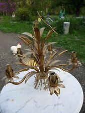 Ancien lustre métal doré épis de blé et gerbe de fleurs 5 feux art dèco