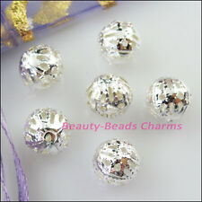 8Pcs Round Filigree Spacer Beads Charms 16mm Gold Silver Bronze Plated