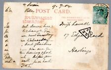 G.B.: 1904 ppc to Hastings from herne Bay with mis-sort G.E. 5