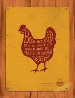 """TIN SIGN """"Beer Battered Chicken Rooster"""" Rustic Kitchen Wall Decor Farm"""