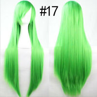 80cm Long Straight Women's Anime Cosplay Wavy Hair Wig Halloween Party 19 Colors