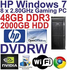 Windows 7 HP Z800 8 Core Gaming Tower PC Computer - 48GB DDR3  - 2000GB HDD HDMI