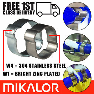 Mikalor Double Ear O Clips Stainless Steel / BZP Fuel Air Water Hose Pipe Clamps