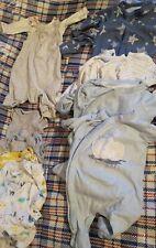 Newborn Mothercare baby boy bundle, 6 sleep suits, 5 vests, dungaree vest set