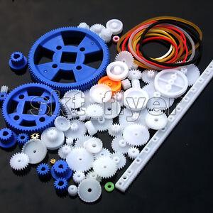 1Set 80pcs Plastic Rack Pulley Belt Gear Car Model Motor Robotic Hobby Gifts