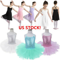 Girls Ballet Dress Leotard Gymnastics Chiffon Skirt Lyrical Dance Wear Costume