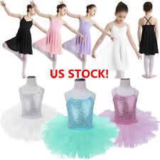 Girls Ballet Dress Leotard Gymnastics Chiffon Skirt Lyrical Dance Wear Costume