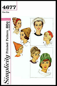 HAT Alopecia PIXIE Cloche Pillbox SIMPLICITY 4677 Vintage 1960's Sewing Pattern
