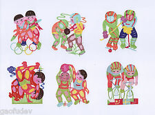 Chinese Paper Cuts Athlete Set # A 6 small colorful Single pieces Chen