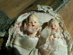 """Twin 3"""" Antique German Bisque Dolls in Original Silk Pocket Bed"""