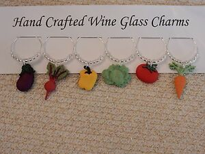 """""""GARDEN VEGETABLES'' SET OF 6  HAND CRAFTED wine glass drink markers"""