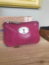 FOSSIL MADDOX COIN PURSE Key ID Fuchsia Snake Skin Leather Print