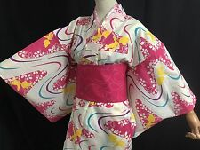 浴衣 Yukata japonais - Koi/Kawa Rose  - Import direct Japon 1425