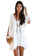 White Shift Dress Long Slit Sleeves Semi Sheer V Neck Cocktail Dress Med 21647