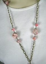 Necklace Gold Tone Tassel String Strand Lucite Beads Pink Color Size 28 In VTG