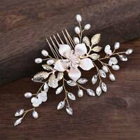 Wedding Flower Hair Pins Bridesmaid Crystal Rhinestone Pearls Bridal Clips Comb