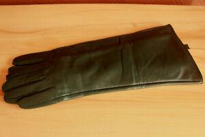 Lange Lederhandschuhe, Grün ,Größe 7,0 ,  38 cm