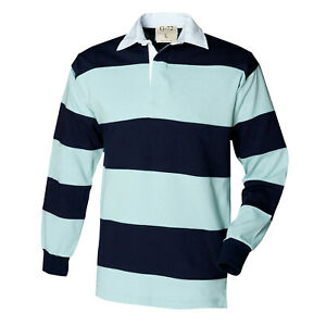 Mens G 72 Sewn Stripe Long Sleeve Classic Fit Rugby Shirt Casual Sports Top S-XL
