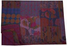 Indian Multi Floral Patch Work Kantha Quilt Twin Bedspread Bedding Blanket Throw