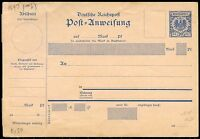 GERMANY REICHPOST 20 pfg POST REFERENCE MINT POSTCARD  WITH SIDE SECTION  SHOWN
