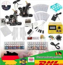 Profi Tattoo Maschine 20 Ink 50 Nadeln Netzgerät Tattoo Tätowierung Kit Set DE